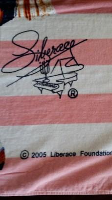 Liberace Trademark Signature Logo on Hot Pants Beach Towel