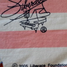 Liberace Trademark Signature Logo on Hot Pants Beach Towel