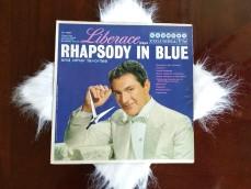 """Liberace """"Rhapsody in Blue"""" Album Clock with fur"""
