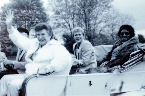 Liberace with Lord Montegu, Scot Thorson and Michael Jackson in England, 1981