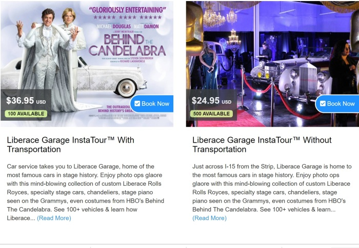 Liberace Garage adds content and transportation