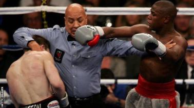 Joe Cortez in the ring